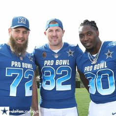 Travis Frederick, Jason Witten and DeMarcus Lawrence proudly represent the Dallas Cowboys st the 2018 Pro Bowl.