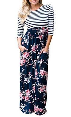 c0c06696d86 Maketina Women s Floral Printed 3 4 Sleeve Crew Neck High Waist Maxi Long  Dress Floor Length