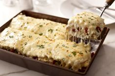 Main dishes  Creamy White Chicken & Artichoke Lasagna