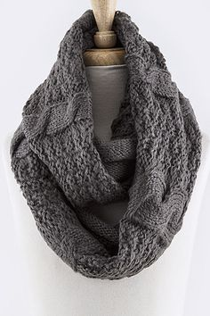 "Mix Cable Knit Infinity Scarf - Wear it as wrap, hoodie, and cowl - Approx. 60"" length x 16"" width - 100% Acrylic - Stretchable - One size"