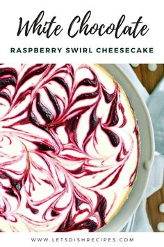 This beautiful dessert features a creamy white chocolate cheesecake base with a tart ribbon of red raspberries swirled throughout.