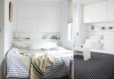 Weinig ruimte voor een bed en geen ruimte voor een nachtkastje? Kies voor een 'bovenkastje' met spotjes eronder. Dit geeft een knus gevoel én leeslicht én extra opberg ruimte. Win-win-win dus! Een andere optie is een Philips Hue LED strip. Deze kun je dimmen en van kleur veranderen. Multifunctioneel dus.