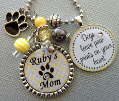 Dog MomPERSONALIZED Necklace OR Keychain- Dogs leave paw prints on your heart, Animal Lover, Pet Rescue, Dogs Names, Animal Remembrance