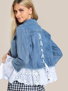 SheIn bietet Lace Applique Denim J . Denim Fashion, Fashion Outfits, Fashion Top, Fashion Ideas, Jeans Trend, Denim Ideas, Denim Crafts, Refashioning, Recycled Denim