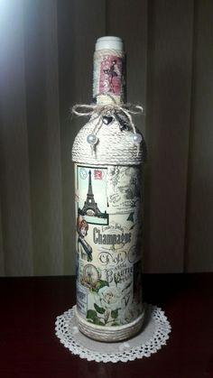 Decorative Bottles : Mari's decoupage bottle,2017 -Read More –