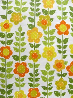 vintage wallpaper - sunny floral with dots - per full yard on Etsy, $14.00