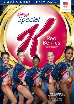 Final Five gymnastics team on Kellogg's cereal box