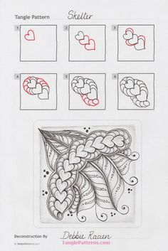 55 Ideas For Drawing Line Heart Zentangle Drawings, Doodles Zentangles, Mandala Drawing, Doodle Drawings, Doodle Art, Easy Drawings, Zen Doodle Patterns, Zentangle Patterns, Tangle Doodle