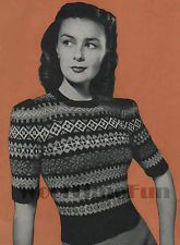 Vintage Knitting Pattern Classic Lady's 1940s Fair Isle Short Sleeve Jumper.