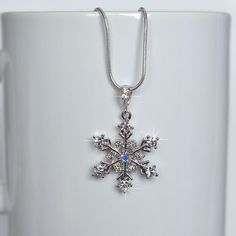 Handmade CZ & Crystal Winter Snowflake Necklace, Bridal (Sparkle-2129-U)