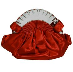 Womens Purses  : 1930 red satin Lucite bag with spring hinges original comb mirror and coin pur
