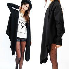 Babooshka Boutique Sweatshirt Cozy Fleece Draped Cardigan Jersey Jacket Black Modern Minimal Asymmetric Sweater Warm Outerwear Black on Black Witchy Goth Style Womens Fashion