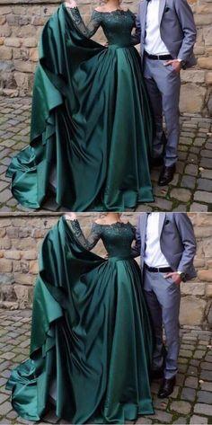 Dark Green Ball Gown Elegant Lace Satin Charming A-line #darkgreenpromdresses #darkgreenballgown #SimpleAlinePromDresses #lacepromdresses #longsleevespromdresses #prom #dresses #longpromdress #promdress #eveningdress #promdresses #partydresses #2018promdresses #Prettylady