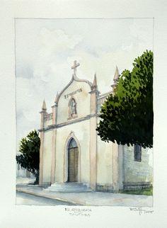 Capela B.V. Addolorata - Distrito de Tuiuty / RS - Aquarela sobre papel Hahnemuhle Cezzane 24 x 32cm
