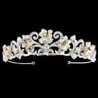 LORENA CRYSTAL AND PEARL BRIDAL TIARA - SASSB