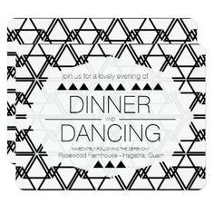 Modern Black & White Geometric Wedding Reception Card - wedding invitations diy cyo special idea personalize card
