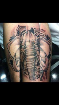 Graffiti elephant tattoo - Nephtali Brugueras jr.