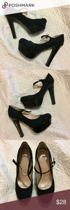"""NEW ❤ GUESS Mary Jane Varika Platform Heels SZ 7.5 These G by Guess Maryjane Platform Heels / Pumps are brand new. Never worn. Size 7.5. Color: Black. Heel measures 5"""". Round toe. Does not include original box. Tags: Sexy, Classic, Vegas, Mary Jane, Patent Leather, Goth, Punk, Retro. Guess Shoes Heels"""