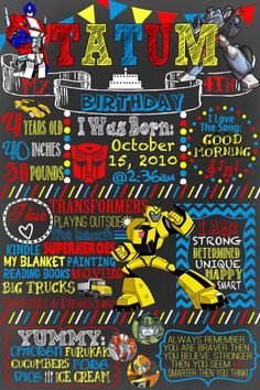 Custom Transformers Birthday Chalkboard FREE by CustomPrintablesNY