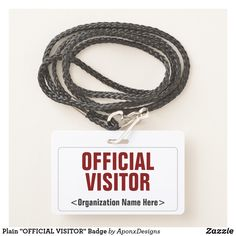 "Plain ""OFFICIAL VISITOR"" Badge Visitor Badges, Line Border, Badge Design, Name Tags, Company Names, Workplace, Messages, Nice"