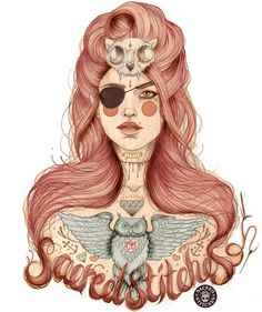 'Sacred Stitches' Tshirt Design - by Liz Clements. Tattoo Illustration, Ink Illustrations, Illustration Artists, Fashion Illustrations, Liz Clements, Magdiel Lopez, Blog Design Inspiration, Arte Sketchbook, The Draw