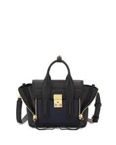 V2RBB 3.1 Phillip Lim Pashli Mini Leather Satchel Bag, Black/Ink