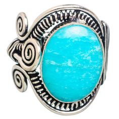 Large Amazonite 925 Sterling Silver Ring Size 7.75 RING769081