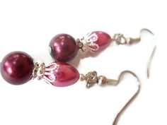 Purple Pearl Earrings Teardrop Earrings Plum by chicagolandia, $18.00