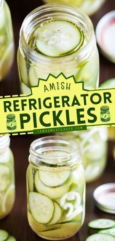 Amish Refrigerator Pickles is a homemade condiment recipe that's so easy to do and customizable! Cucumbers and other spices are marinated in a mixture of cider vinegar and sugar. This easy condiment idea is a must-try! Freezer Pickles, Quick Refrigerator Pickles, Canning Pickles, Easy Dinner Recipes, Appetizer Recipes, Appetizers, Homemade Pickles, Amish Recipes, Side Dishes Easy