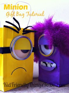 Despicable Me Evil Minion Gift Bag Idea & Craft Tutorial! These are the best! Great for your Minion birthday party!
