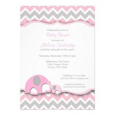 Pink & Gray Chevron Elephants Baby Shower Invites