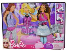 Barbie Year 2009 Fashionistas Series Doll Cloth Assortment R6815  ROLLER SKATING Outfit with 2 Neck Strap Tops Capri Pants 1 Piece ShortsTop with Neck Strap Mini Skirt Leg Warmer Mesh Bolero Jacket Visor and 1 Pair of Roller Skates Doll Is Not Included -- Want to know more, click on the image.