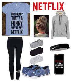 """""""Netflix is my boyfriend"""" by bekahjoy123 ❤ liked on Polyvore featuring Casetify, Calvin Klein, adidas, Vans and NIKE"""