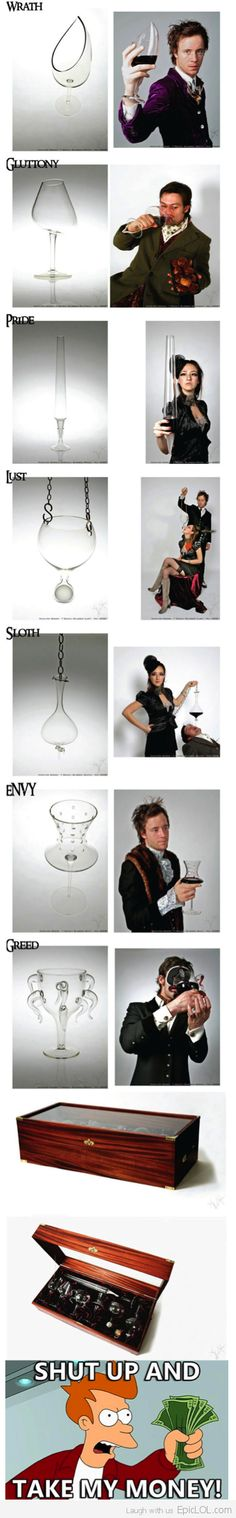 The 7 Deadly Sins Wine Glasses.. Shut Up And Take My Money! I need!!