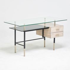 """FRENCH - Estimate: $500 - $700 - Single pedestal desk, ca. 1950; Silvered and enameled steel, limed oak, black and clear glass; Unmarked; 29"""" x 55"""" x 25 1/2"""""""