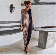 b7e42252cdc Free Shipping Trend Asymmetrical Loose Fitting Maxi Dress For Plus Size  Women Beige Maxi Dresses