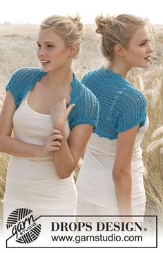 Knitted DROPS bolero with lace pattern in Cotton Light. Size: S - XXXL. Free pattern by DROPS Design.