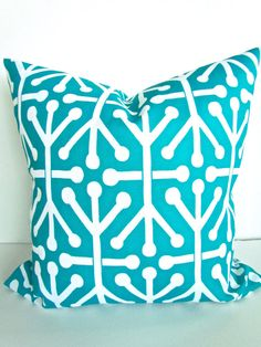 THROW PILLOWS 18x18  Teal Throw Pillow Covers by SayItWithPillows, $17.95