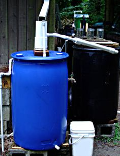 First Flush Diverter. First in line in rain barrel system, diverts first 10-25 gallons of water (likely most contaminated with roof chemicals, etc).