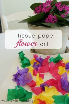 tissue paper flower art - Wildflower Ramblings