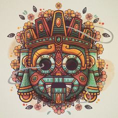 Tattoos And Body Art aztec tattoo Art And Illustration, Art Chicano, Chicano Tattoos, Mexican Art Tattoos, Mexican Skull Art, Indian Tattoos, Aztec Culture, Mexico Art, Real Mexico