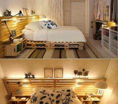 Récup palettes- 34  chambres à coucher- la tête de lit palette