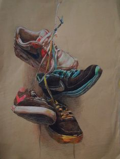 ARTIST: Inspiration for Sketch a day challenge Day 8 ~ Footwear [May have been a High School Art Project] Ap Drawing, Still Life Drawing, Painting Still Life, Still Life Art, Painting & Drawing, Shoe Drawing, Artist Painting, Illustrations, Illustration Art