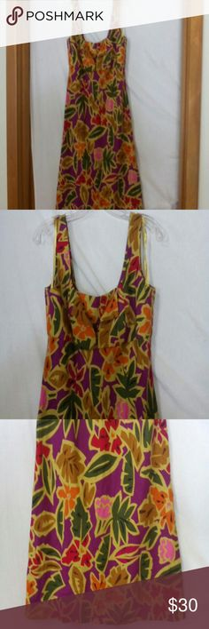 "Talbot women size 8 sundress Barely worn, tan, light brown, pink, green, red, fuchsia, brown and black floral jungle pattern, sleeveless, hidden zipper at the back of the neck, linen and rayon, dry clean, chest 38"", length 41"" Talbots Dresses Bras"