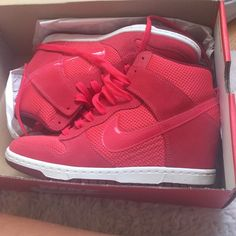 Nike dunk wedge sneakers Red wedge nikes. Size 8 women's. Worn 3 times but like new. Comes with box. Nike Shoes Sneakers