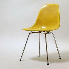 Herman Miller/ Vitra, Side Chair, Charles Eames, Gelb, Fiberglas, Stuhl