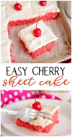 Cherry Sheet Cake Recipe- a crowd pleaser at every potluck and party! Sheet cake recipe to save.Easy Cherry Sheet Cake Recipe- a crowd pleaser at every potluck and party! Sheet cake recipe to save. Cherry Desserts, Desserts For A Crowd, Just Desserts, Easy Chocolate Desserts, Bite Size Desserts, Cherry Recipes, Decadent Chocolate, No Bake Desserts, Sheet Cake Recipes
