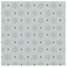 Snowflakes and Green Garnets on Ice Blue Fabric