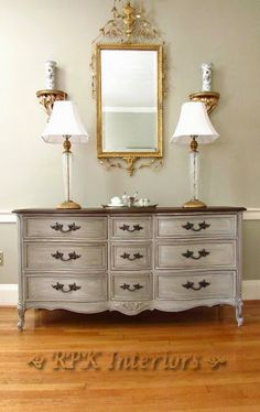 French dresser painted with ASCP layers of Old Ochre, then Paris Grey, then French Linen, and finally Old White.