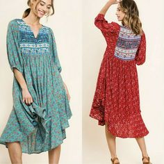 UMGEE Floral Mixed Print Puff Sleeve Waffle Knit Dress SML